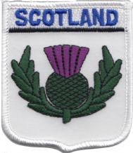 Scotland Thistle White Embroidered Badge (a103)
